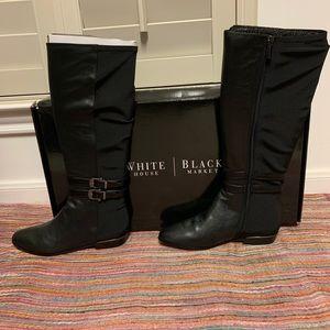 WHBM Leather Black Boots w. Elastic Back 61/2 NWT
